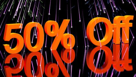50 per cent off